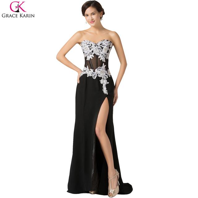Сексуальная длинное вечернее платье прозрачный халат грейс карин шифон высокая сплит ...