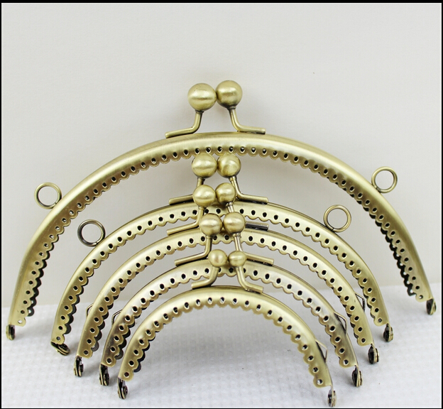 8.5CM/10.5CM/12.5CM/15CM/20CM,10 PCS/lot Bronze Round Metal Purse Frame Handle Kiss Clasp DIY Bag Clutch Accessory Sewing Craft(China (Mainland))