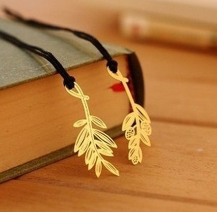 New Creative Beautiful plants designs Metal Bookmark/DIY Multifunction Golden Book marks/funny gift/Wholesale(China (Mainland))
