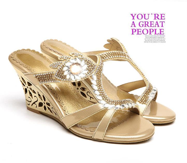 New 2016 arrival Glittering Fashion Fretwork Heels Wedges sandals Rhinestone Silver Gold Summer sandals for party Sexy Hot sale(China (Mainland))