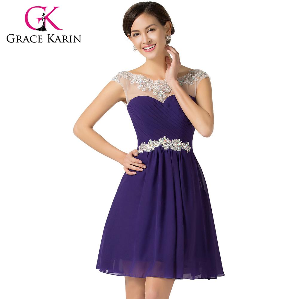 Grace karin knee length short prom dresses blue violet for Purple dresses for weddings knee length