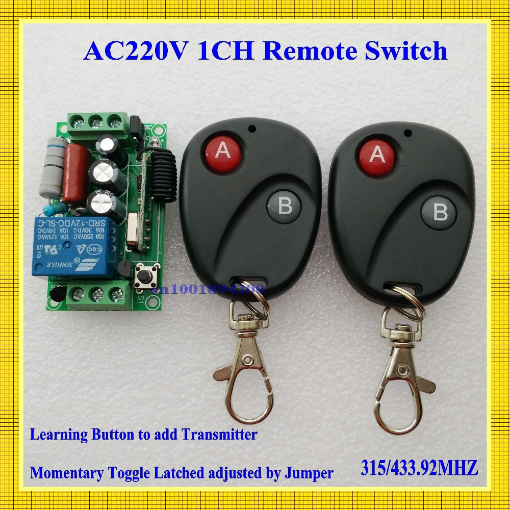 220v 1ch rf wireless remote switch wireless light Lamp LED switch 1 Receiver 2 Transmitter 315/433 Remote ON OFF Controller(China (Mainland))