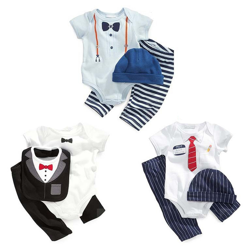 2016 NEW Design Baby Boy Romper set Hand-painted patterns romper+pants+cap/bib Summer suit Cute Baby Romper Newborn Clothes girs(China (Mainland))