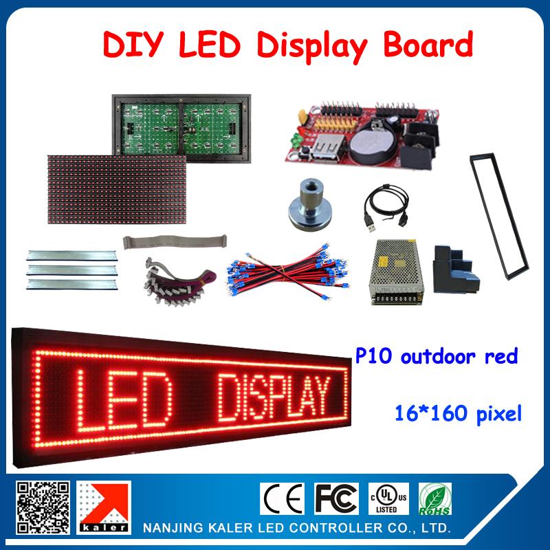 P10 DIP Red Outdoor Led Display Screen DIY Kits led modules, frame, magnets, control card, data cable, usb cable and power etc.(China (Mainland))