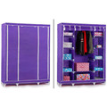 1Pc HOME FURNITURE STORAGE TRIPLE MULTIPLE CANVAS WARDROBE WITH HANGING RAIL PURPLE