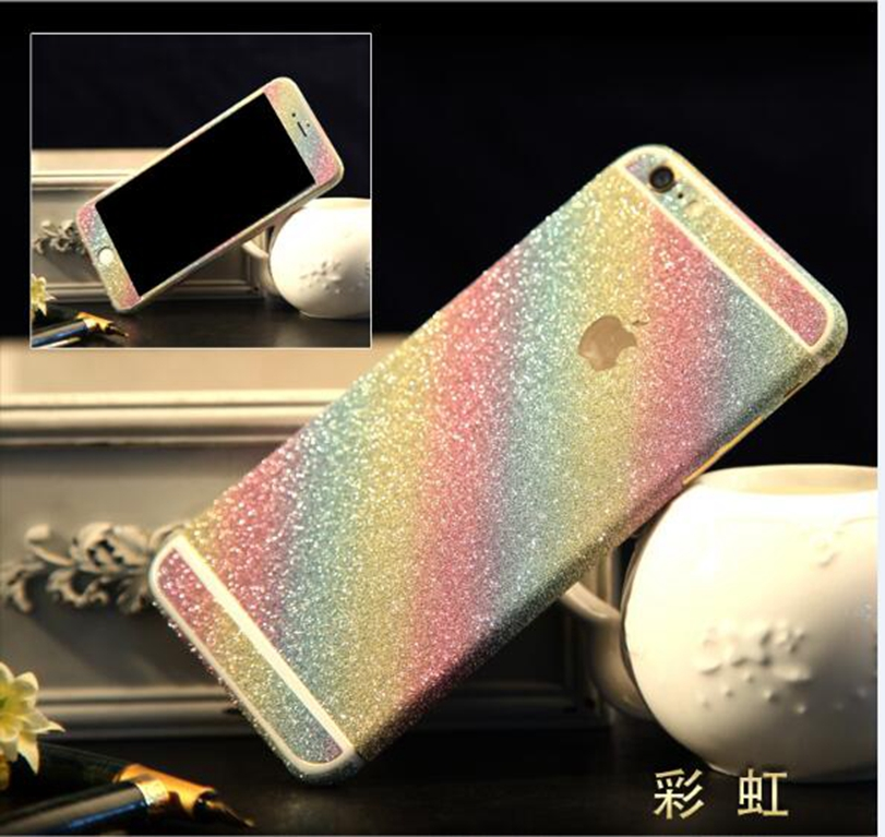 2016 New Shiny Full Body Glitter Bling Beauty Sticker For iPhone 5 5S 5G Phone Sticker Frosted Screen Back Cover JK788(China (Mainland))