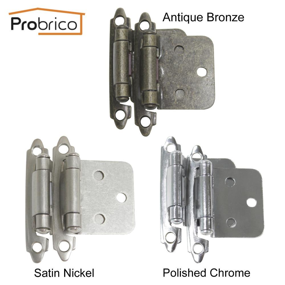 Probrico 10Pair Self Close Antique Bronze/Satin Nickel/Polished Chrome Kitchen Cabinet Hinge CH197 Cupboard Door Hinge(China (Mainland))