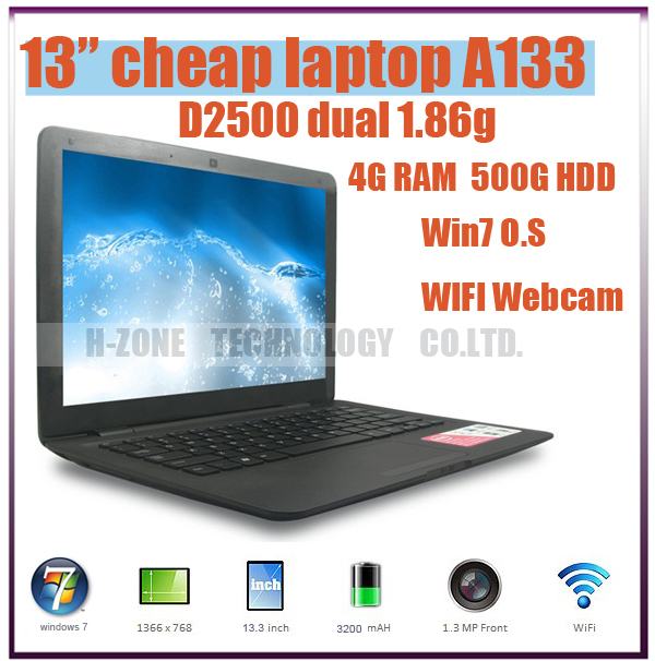 "Freeshipping 13.3"" Dual Core tablet pc 4G DDR3 500G Win7 Intel Atom D2500 Notebook Computer PC ultrabook cheap laptops HZ-A133(China (Mainland))"