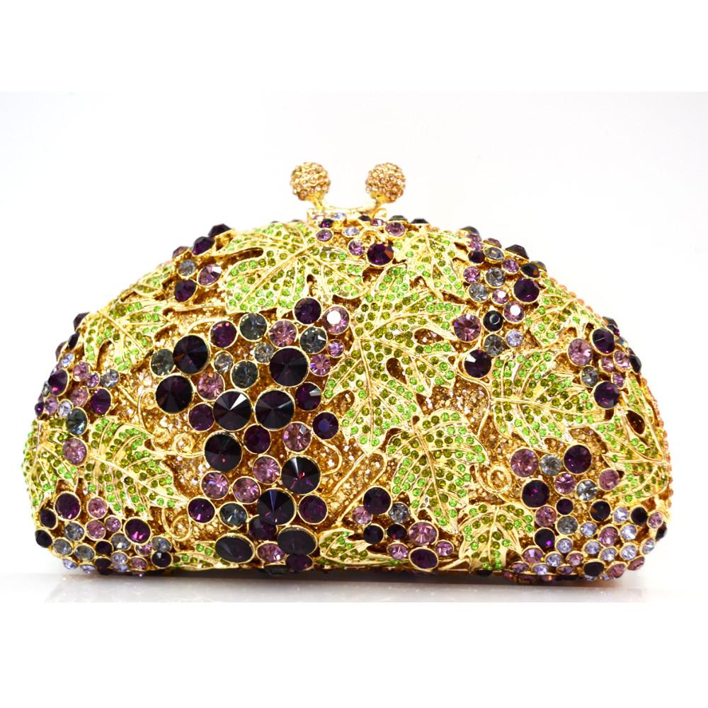 LaiSC Green grapes Luxury crystal Clutch evening bags animal pattern sparkly diamond pochette Purse women soiree bag SC82