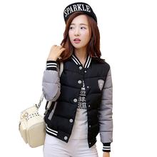 New Winter Jacket Women Korea Uniform Warm Short Jackets Coat Cotton Baseball Stand Collar Female Parkas Women YC579