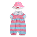 Summer fashion female child 100 cotton stripe baby girl jumpsuit child romper short sleeve and hat