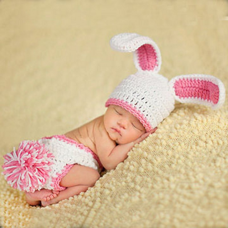 Newborn infant handmade baby photography props knitted crochet hat rabbit hat woolen baby clothing lovely baby girl photo props(China (Mainland))