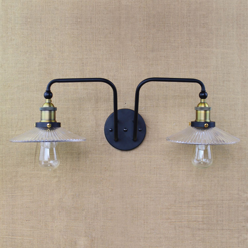 Double Head wall lamps Industrial Vintage Loft Style Creative Glass Bedside Wall Light lamparas de pared Cafe Shop Wall Lamp(China (Mainland))