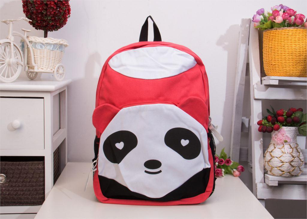 Free Shipping Fashion Lovely Panda Canvas Women Backpack School Bag Student Shoulder Bags For College Girls