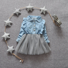 2016 Spring new baby denim dress fashion style turn-down collar full sleeve cotton and mesh baby girls dresses A063 (China (Mainland))