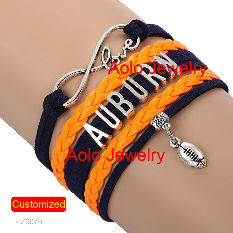 6Pcs/Lot AUBURN FOOTBALL Infinity Bracelet NAVY/ORANGE Make Your Own Design Free Shipping #1349(China (Mainland))