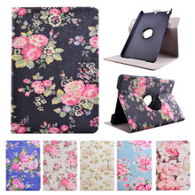 360 Rotating Hard PC+Leather Luxury Flower Painting Tablet Case for Apple iPad Mini 1 2 3 Cover with Card Slot Capa Accessories(Hong Kong)