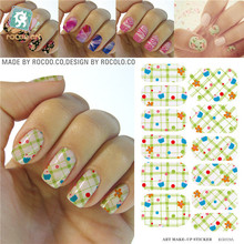 Cartoon Ice-cream Flowers Tartan Water Transfer Design Nails Stickers Manicure Styling Tools Water Film Paper Decals