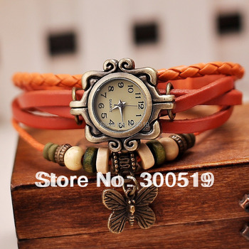 JW280 New Women Retro Braided Bracelet Genuine Leather Strap Watch Butterfly Watch Ladies Dress Watch