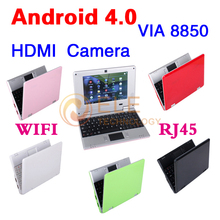 Hot Selling 7 inch Android 4.0 VIA 8850 DDR3 512M 4GB HDD HDMI Camera WIFI RJ45 Netbook Laptop Notebook Russian keyboard(China (Mainland))