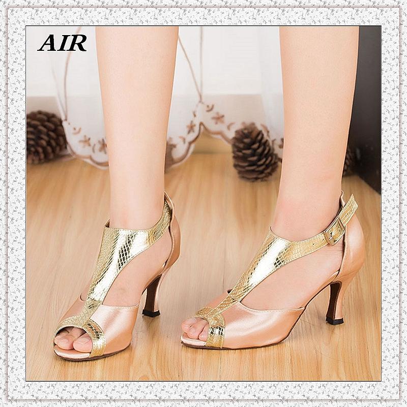 Customizable Fitness Peep Toe Med Or High Heel Satin Women's Ballroom Tango Latin Dance Shoes Gold Shiny
