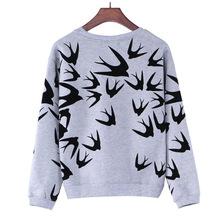 Autumn Women Casual Grey Crewneck Sweater Long Sleeve 3D Swallow Pullover Sweater(China (Mainland))