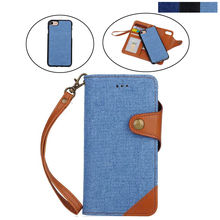 New Vintage Denim Wallet Flip PU Leather mobile Phone Bags Case Cover With Credit Card For iPhone7 plus Lanyard wallet case