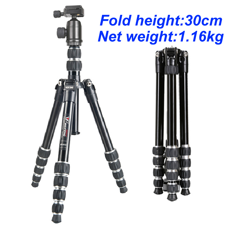New Portable Weifeng WF-6615B Aluminum Tripod For Digital Camera With Ball Head Net weight 1.16kg 5 sections Free Ship By DHL(China (Mainland))