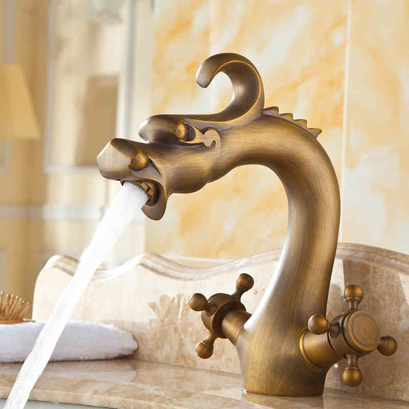 Free Shipping Antique Brass Dragon Basin Faucet Antique Faucet Single Hole Bathroom Tap Bathroom Faucet torneira banheiro(China (Mainland))