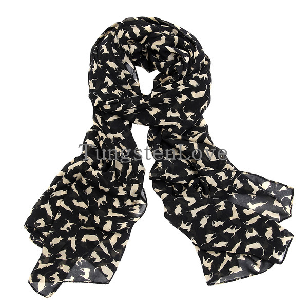 New Charm Fashion Black / Apricot Color Cat Pattern Scarf for Ladies Women cachecol feminino panuelos mujer(China (Mainland))