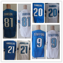 100% Stitched Men's #9 Stafford 20 Sanders 81 Johnson Elite Jerseys Blue White Jersey Size:M L XL XXL XXXL,Best Quality(China (Mainland))