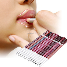 Professional Lipliner pencil Waterproof wooden blend Lip Liner Pencil 15CM 12 Colors Per Set Hot 2015 makeup lipstick tool(China (Mainland))