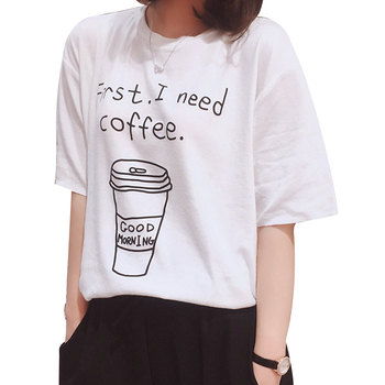 2018 Summer Women T-shirt Cartoon Letter Print Tops Thin Short sleeved Tshirt Femme Slim Harajuku Student Tees Shirt White Black
