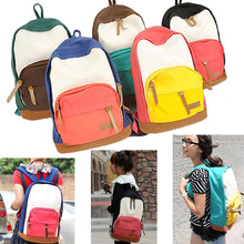 Hot Sale Casual Women s School Bag 2015 New Fashion Satchel Canvas Backpack Outdoor Travel Patchwork