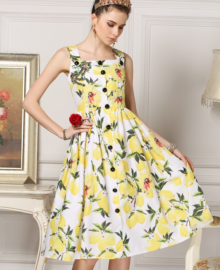 New arrival 2016 spring summer brand fashion handmade diamonds beading women dress lemon fruit patterns print casual dresses