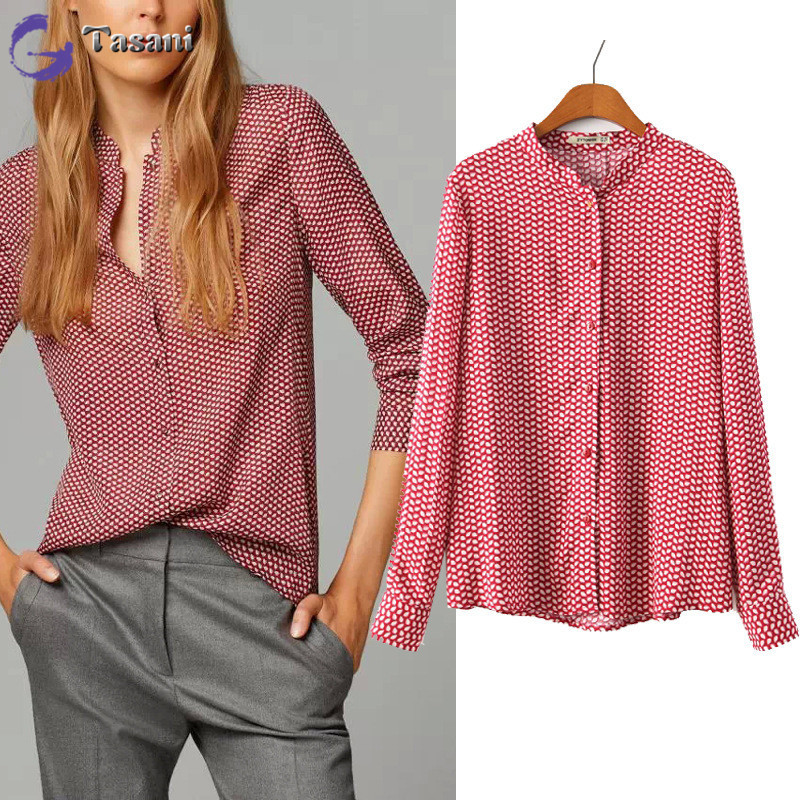 2015 new casual women shirts long sleeve print slim blouse for European mens dress shirts