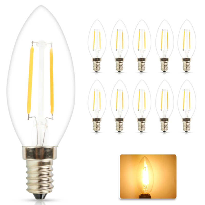 10x New Design E14 Led Lamp 4W 6W AC 220V Led Candle lights Dimmale 360 Degree Led Filament Bulb Chandelier LED Lighting Bulb