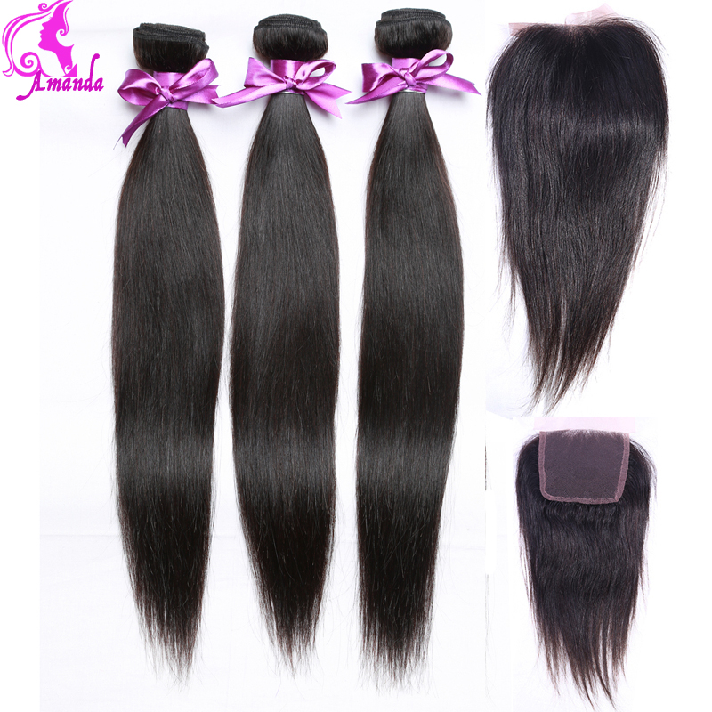 7A Peruvian Virgin Hair Straight With Lace Closure 4 Bundle Human Hair Weave Peruvian Virgin Hair With Closure Rosa Hair Product<br><br>Aliexpress