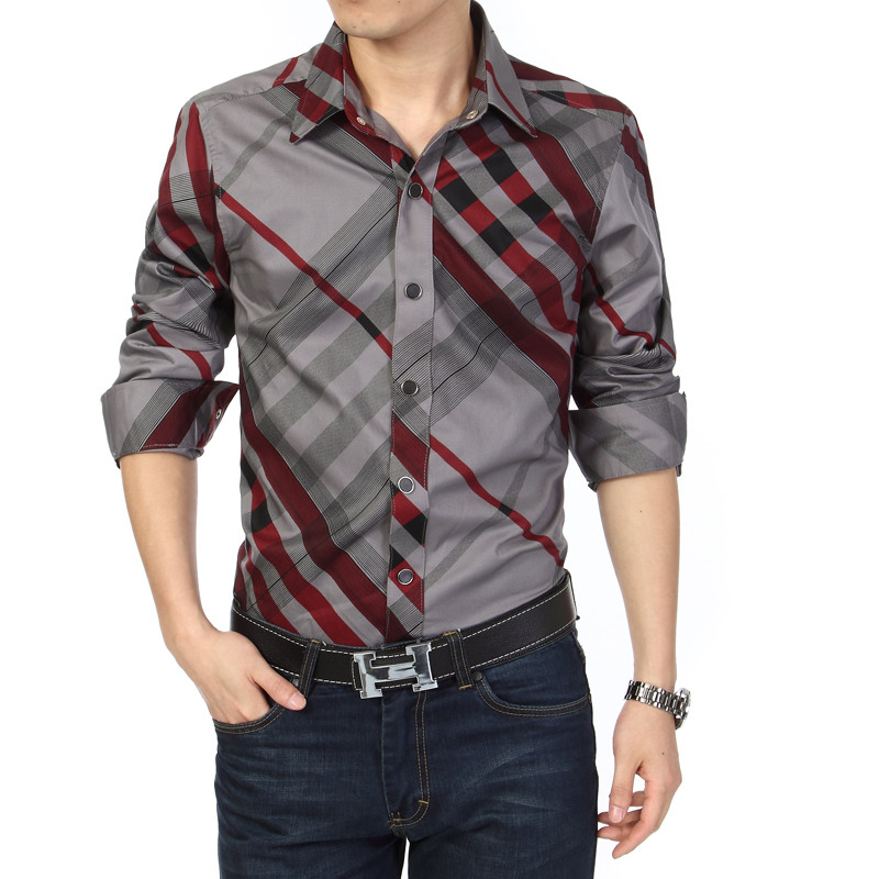 Mens striped slim fit plaid shirt long sleeve hot sale for Mens designer casual shirts sale