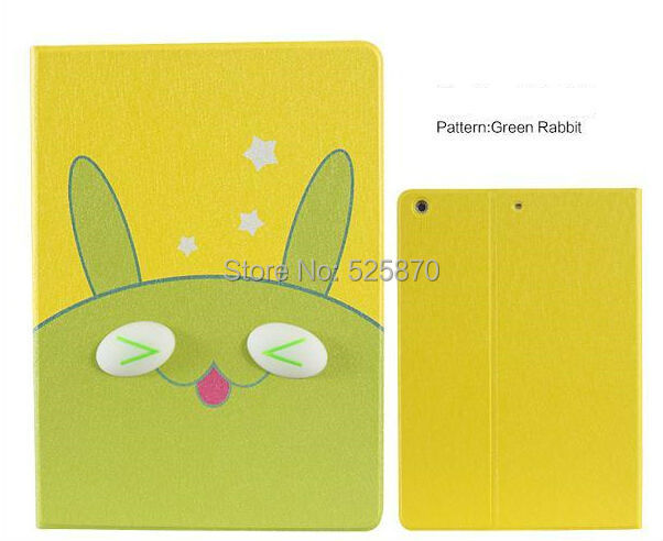 Free shipping ! Green rabbit tablet pc case for ipad air cartoon 3D eyes smart case for ipad 5(China (Mainland))