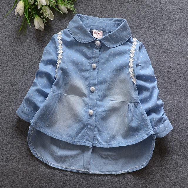 2016 весной и осенью новый женский ребенок женского пола ребенка ковбой точка кардиган рубашка ATST0033