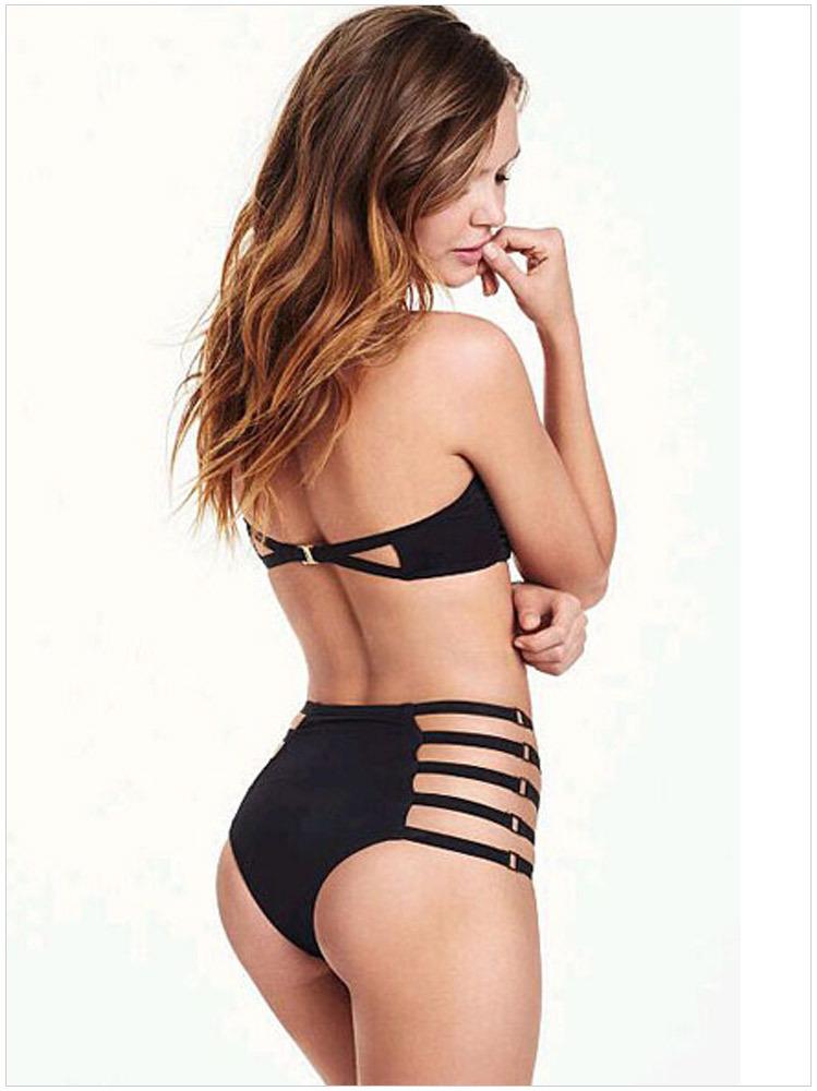 2015 Vintage Bandeau Cut Out High Waist Bikini set Black Sexy Women Swimwear biquine cintura alta