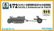 S-modelo PS720087 1/72 sd. kfz. 2 Kettenkrad y Pak36