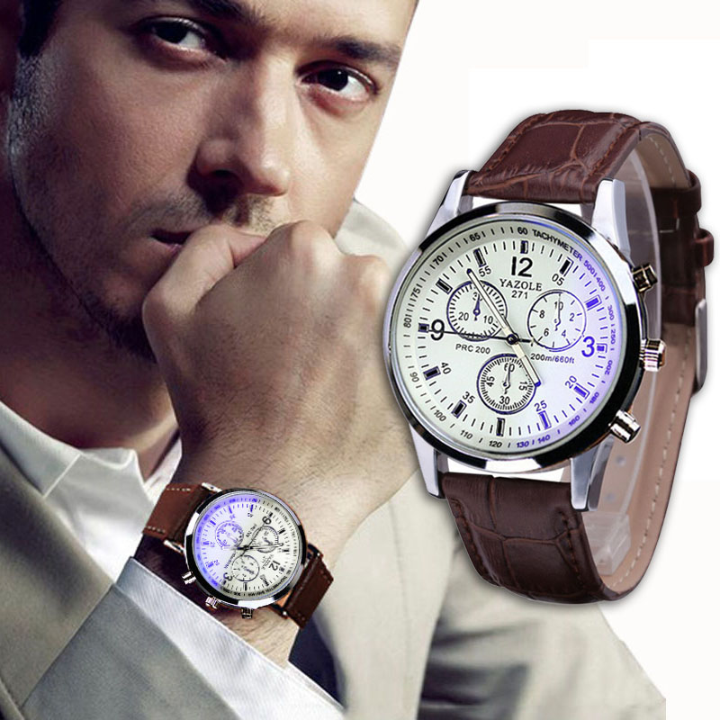 Luxury Brand Men watch Faux Leather Blue Ray Glass Casual MIlitary cara Relogio Reloj Quartz Analog Watches Promotions(China (Mainland))