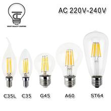 Buy Dimmable Retro E27 LED Filament Light Glass Bulb E14 Lamp 220V 240V 2W 4W 6W 8W LED Filament Antique Vintage Edison Bulbs for $2.39 in AliExpress store