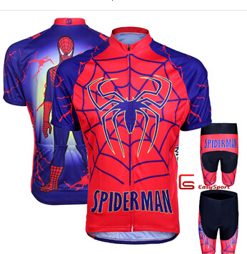 Elephant spiderman red cycling jersey short sleeve sharts set/custom athletic bike clothing for Man and Women Children(China (Mainland))