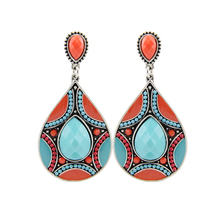 Brincos Charming Ethnic Tibetan Silver Oval Rimous Turquoise Crystal Drop Dangle Earrings Christmas Gift for Women(China (Mainland))