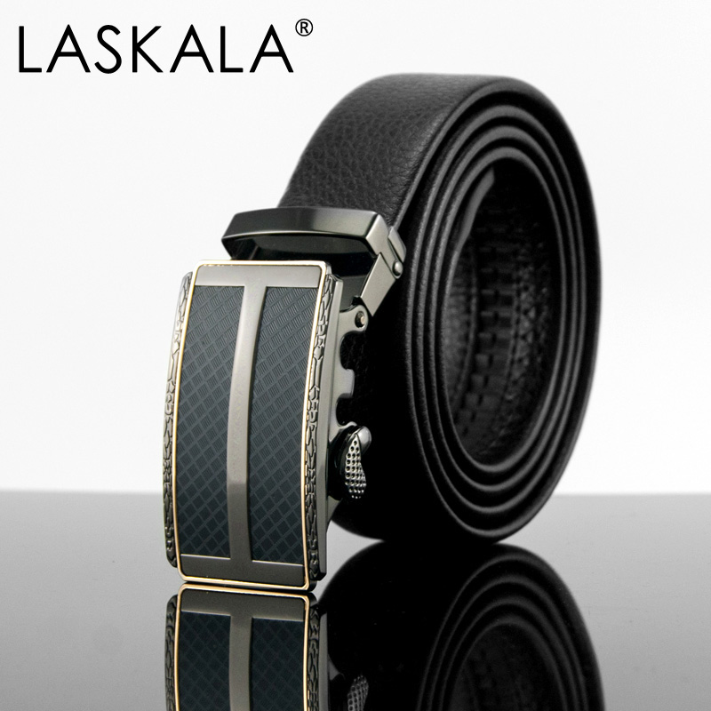 LASKALA 2016 business mens belt top quality leather for men cinto masculino gunblack buckle male strap mens belts luxury brand(China (Mainland))