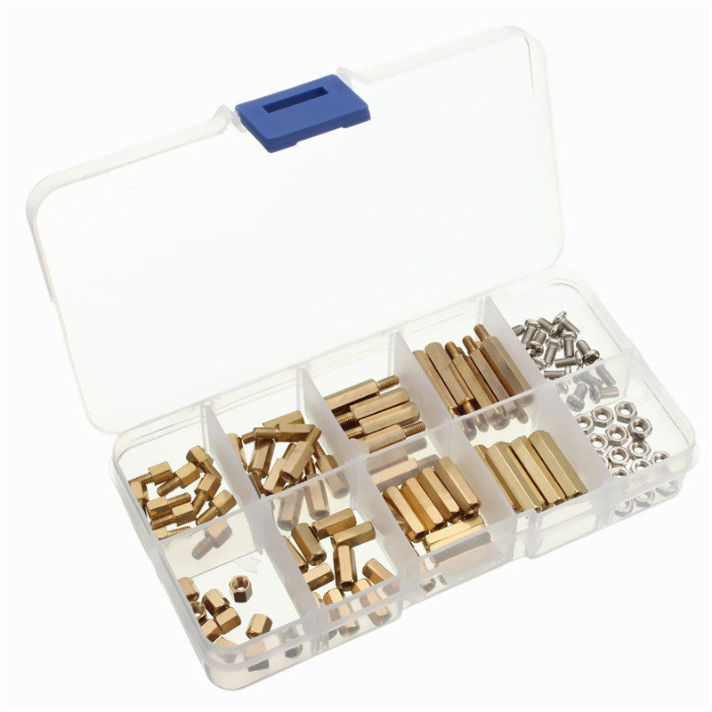 120pcs M3 Copper Silver Brass Pillars Standoff Circuit Board PCB Nut Screws Hex Round Single Cylinder Head(China (Mainland))