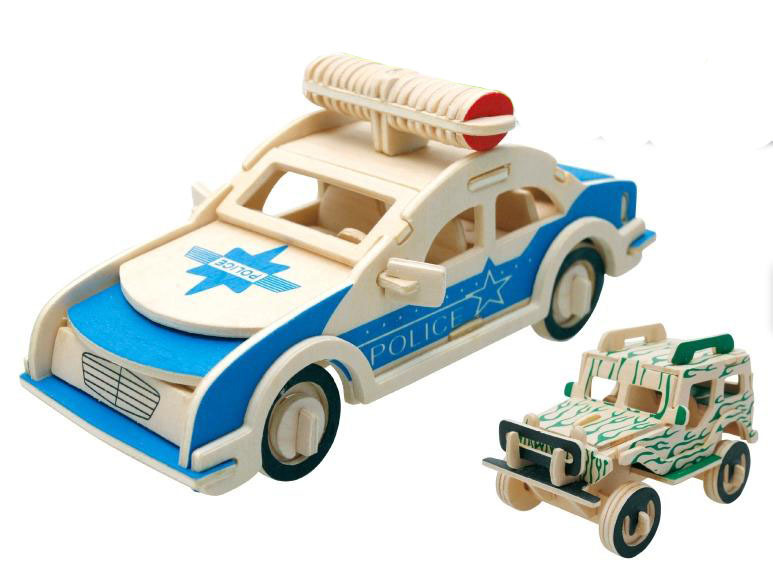 The Jeep and police car 3D puzzle wooden toys for children's wooden ...